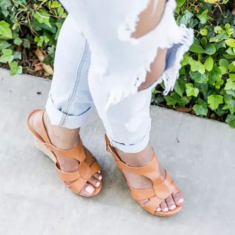Round Toe Buckle Slingback Strap Wedge Heel Western Casual Sandals