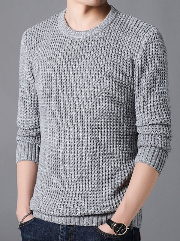 Plain Standard Round Neck Casual Slim Sweater