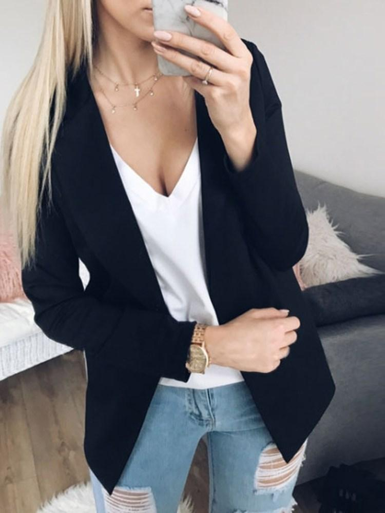 Long Sleeve Plain Standard Spring Casual Blazer