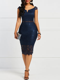 Lace Off Shoulder Mid-Calf High Waist Bodycon Dress
