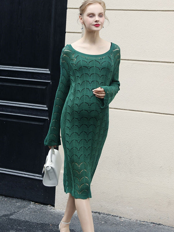 Elegant Bowknot Decorated Maternity Sweater Dress