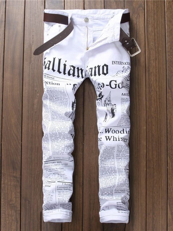 Letter Print Straight European Zipper Jeans