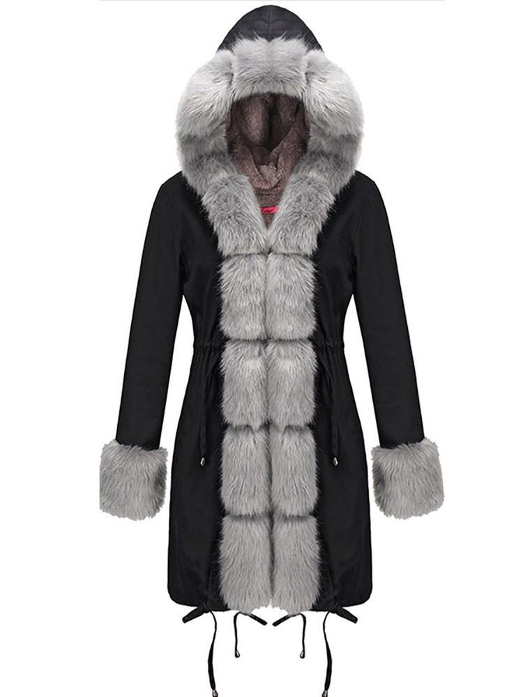 Patchwork Slim Mid-Length Cotton Padded Jacket
