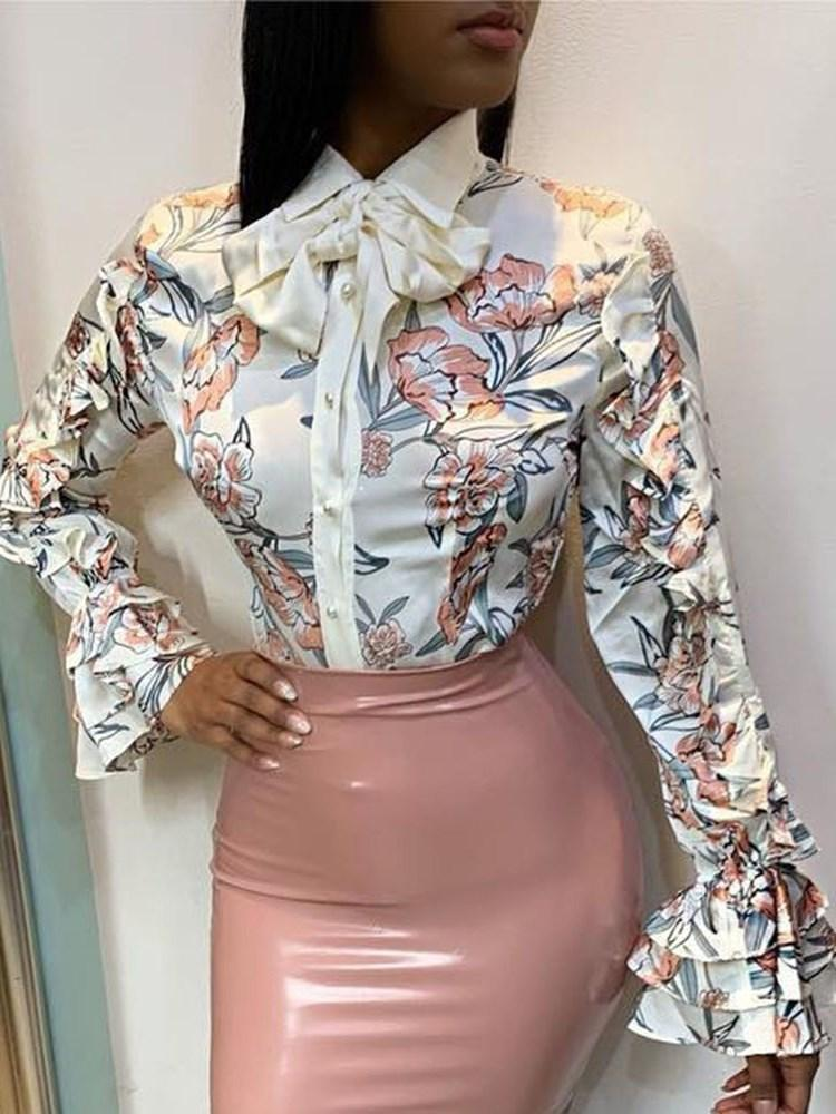 Lapel Ruffle Sleeve Print Long Sleeve Standard Blouse
