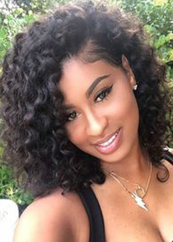 Kinky Curly Natural Black Loose Medium Layered Women Capless Wig 16 Inches
