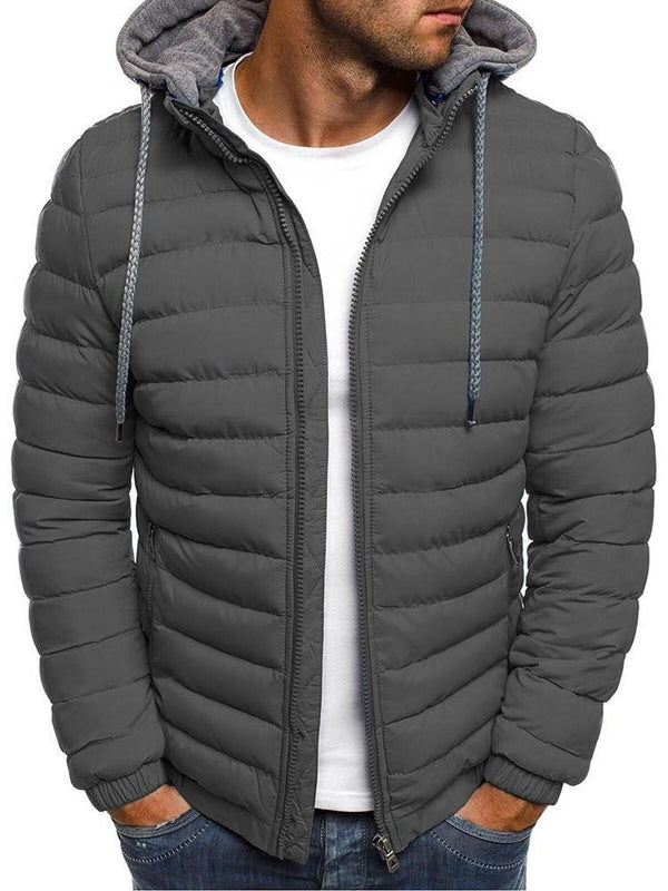 Patchwork Color Block Hooded Zipper Casual Down Jacket