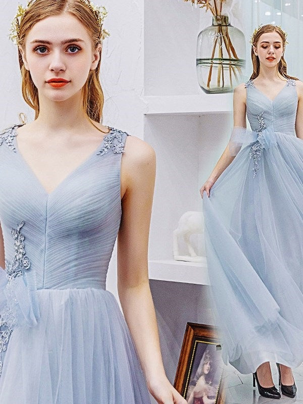 Tulle V-Neck Sleeveless A-Line Prom Dress