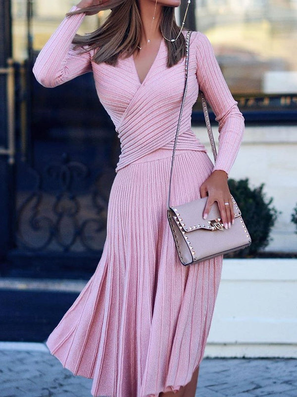 Long Sleeve Pleated Mid-Calf Pullover Regular Dress