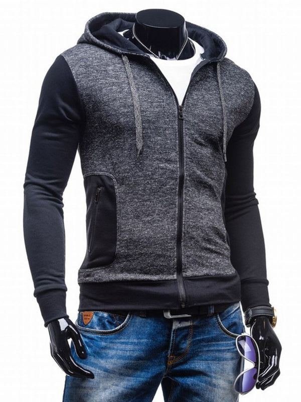 Color Block Cardigan Casual Slim Hoodies