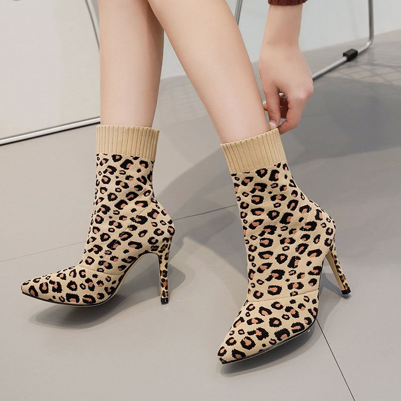 Stiletto Heel Pointed Toe Leopard Slip-On Casual Cotton Boots