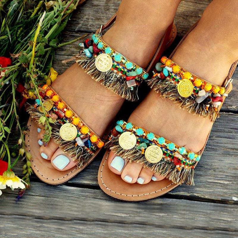 Ethnic Flat With Open Toe Casual Summer Women Sandals