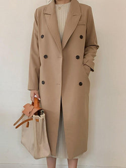 Long Notched Lapel Double-Breasted Fall Office Lady Trench Coat