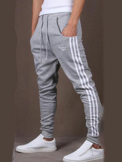 Stripe Print Mid Waist Spring Casual Pants