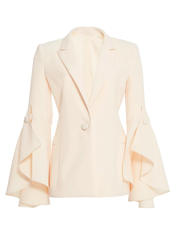 Bell Sleeve Plain One Button Lapel Women's Blazer