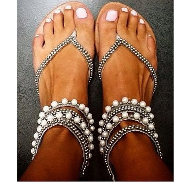 Lace-Up Open Toe Rhinestone Plain Sandals