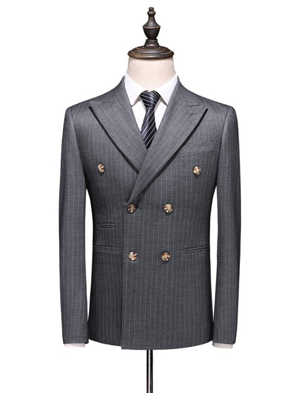 Pocket Blazer Double-Breasted Dress Suit