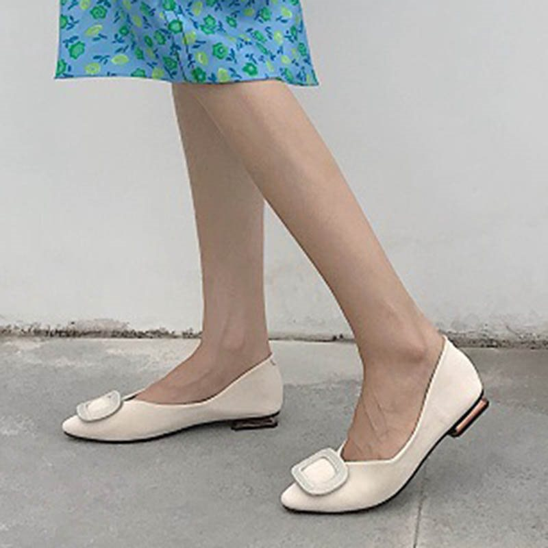 Square Toe Slip-On Block Heel Plain Low-Cut Upper Thin Shoes