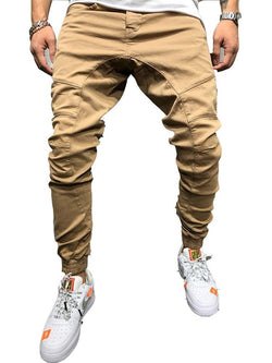 Plain Overall Lace-Up Mid Waist Casual Pants