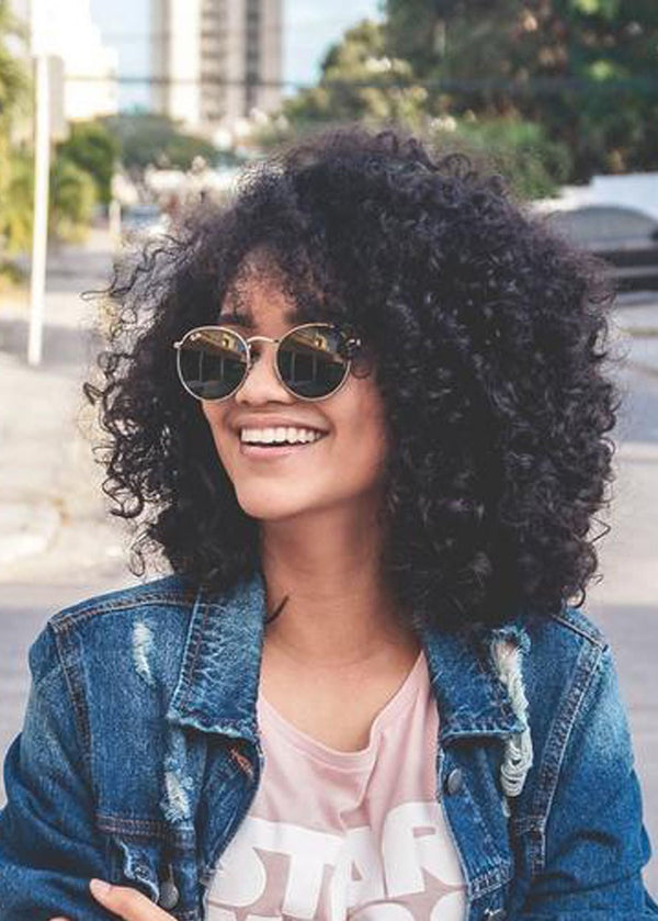 Sexy Kinky Curly Wavy Layer Human Hair Capless Wigs 22 Inches