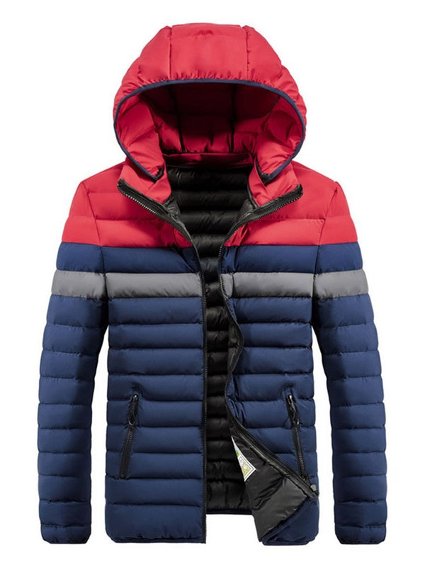 Hooded Color Block Pocket Zipper European Down Jacket