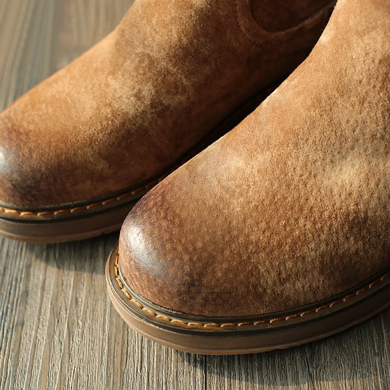 Slip-On Round Toe Brush Off Casual Boots