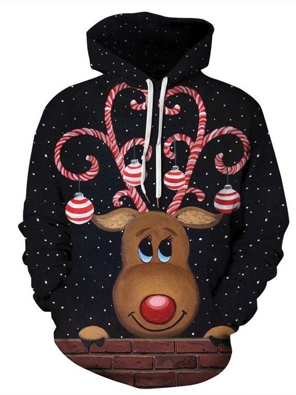 Print Animal Pullover Fall Hooded Hoodies