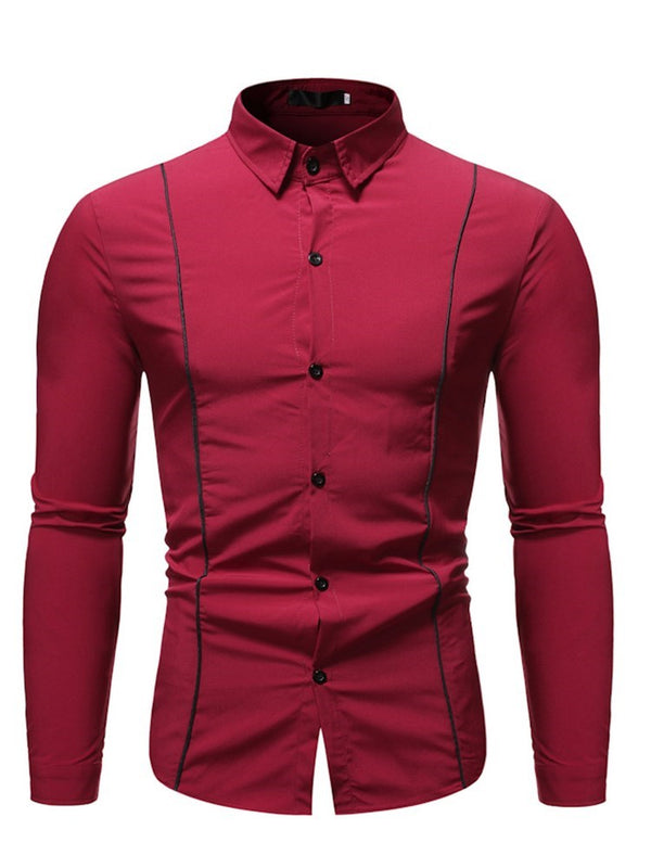 Patchwork Casual Color Block Fall Single-Breasted Shirt