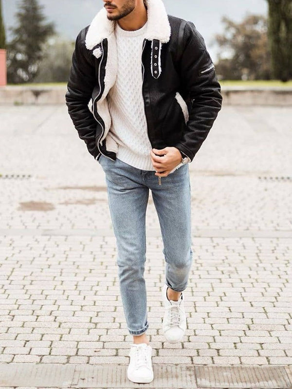 Lapel Zipper Fleece Cardigan Casual Jacket