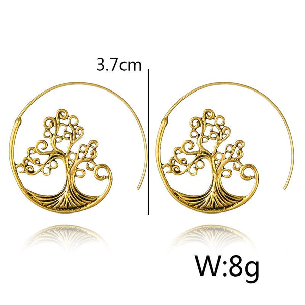 Alloy Tree Of Life Crystal Earrings Dangle For Women Lady Jewelry
