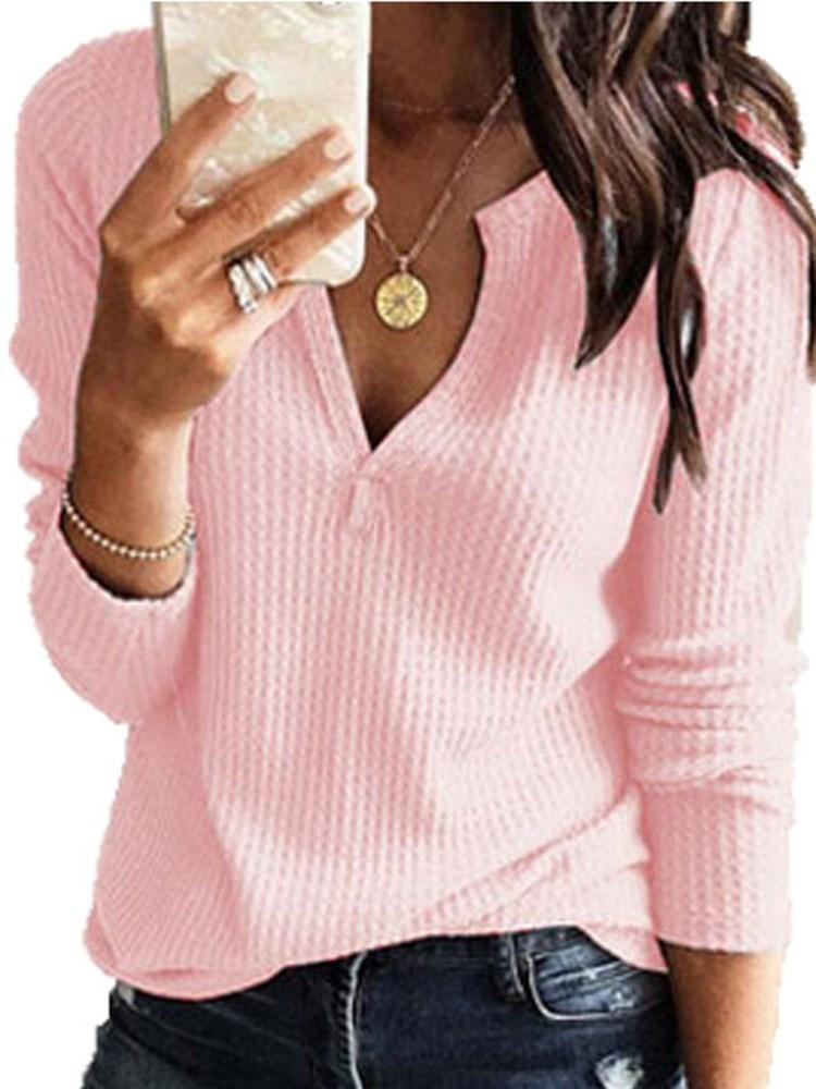 Regular Long Sleeve V-Neck Sweater