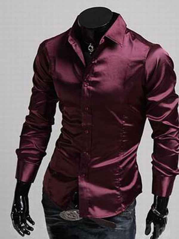 Lapel OL Plain Single-Breasted Fall Shirt
