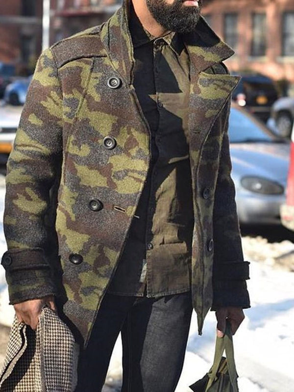 Mid-Length Button Camouflage A Line Double-Breasted Coat