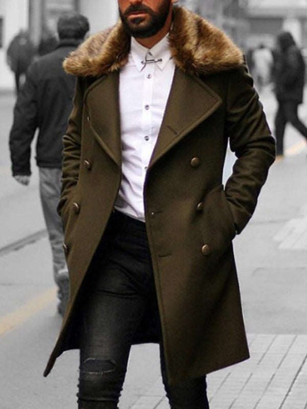 Pocket Plain Long Fashion Double-Breasted Coat