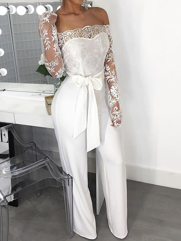Full Length Lace-Up Western High Waist Slim Jumpsuit