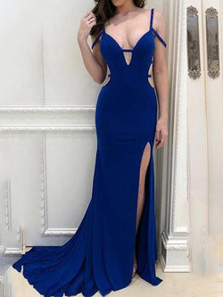 Trumpet/Mermaid Sleeveless Split-Front Floor-Length Evening Dress