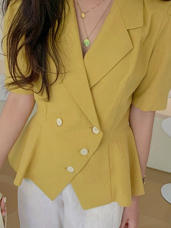 Notched Lapel Short Sleeve Plain Standard Regular Casual Blazer