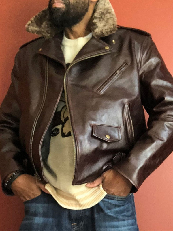 Lapel Standard Patchwork Loose Leather Jacket