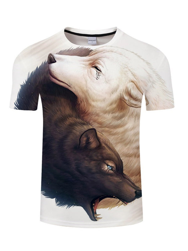 Casual Animal Round Neck Short Sleeve Straight T-shirt
