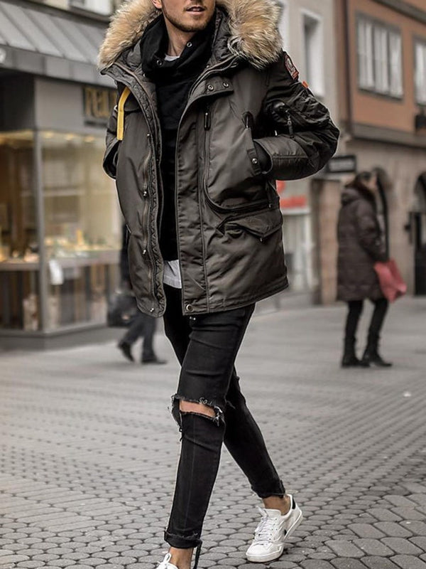 Plain Mid-Length Casual Down Jacket