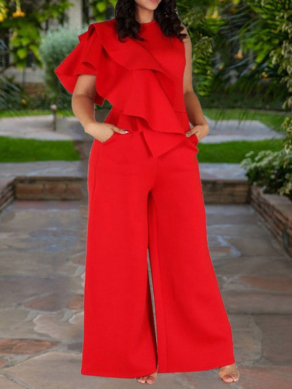 Full Length Plain Office Lady Wide Legs Loose Jumpsuit