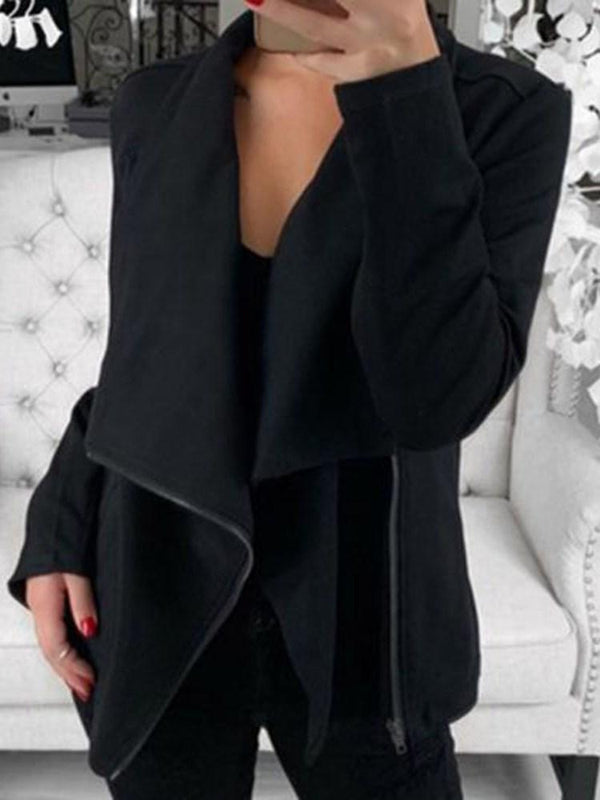 Straight Zipper Long Sleeve Mid-Length Jacket