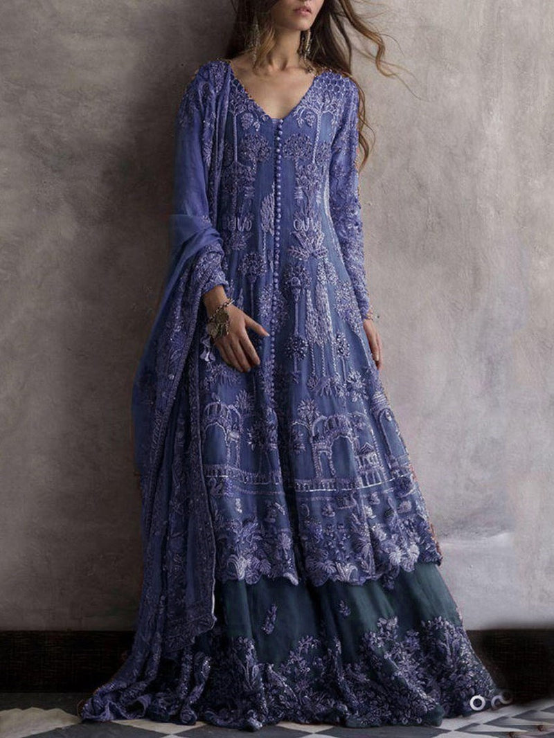 Print Long Sleeve Floor-Length A-Line Fashion Dress