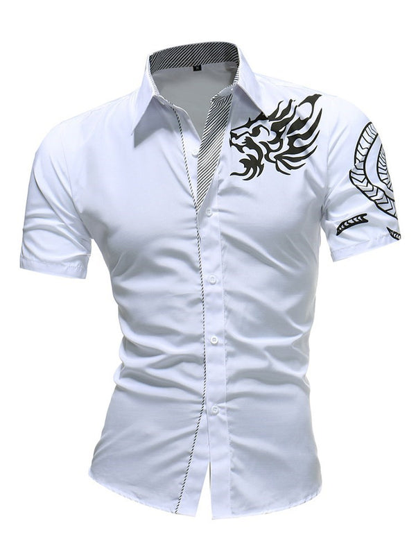 Print Lapel Color Block Summer Single-Breasted Shirt