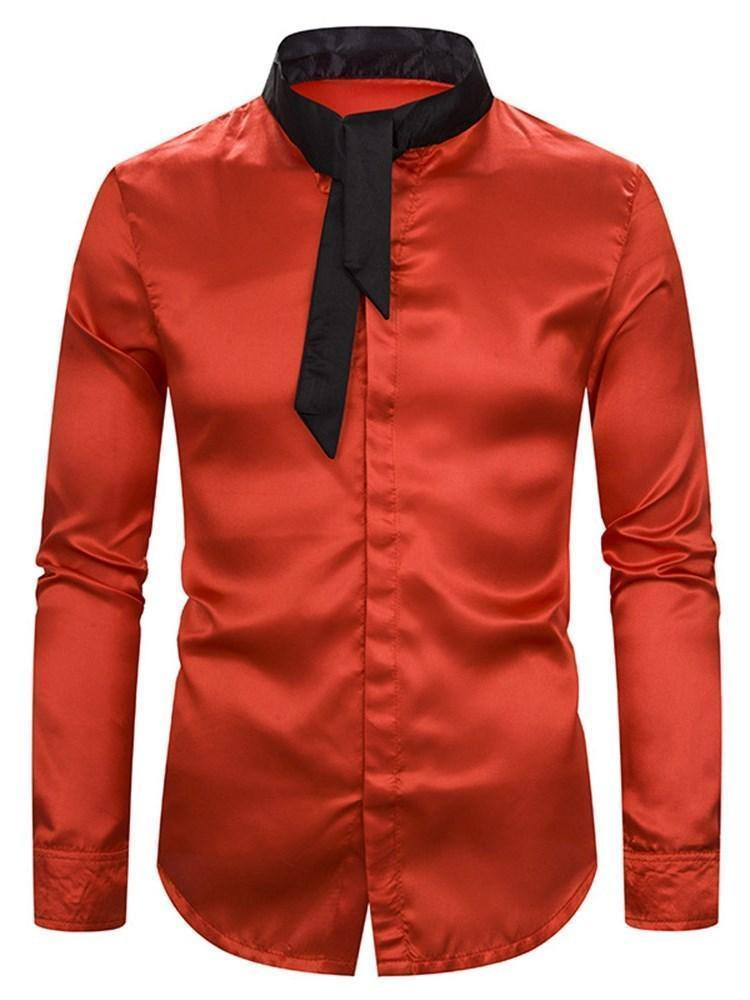 Stand Collar Casual Color Block Slim Fall Shirt