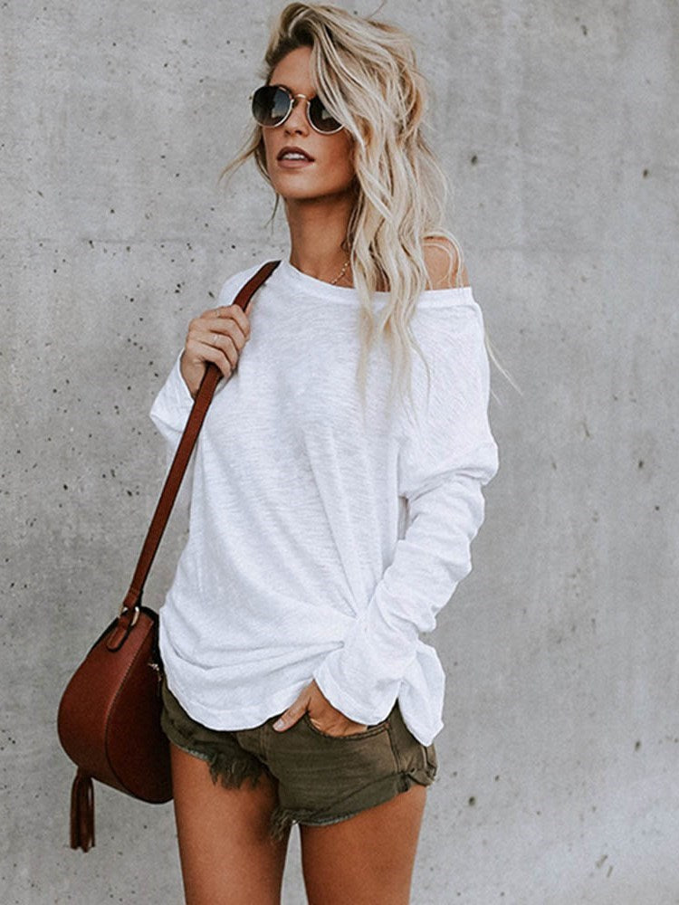 Long Sleeve Mid-Length Round Neck Loose Fall T-Shirt