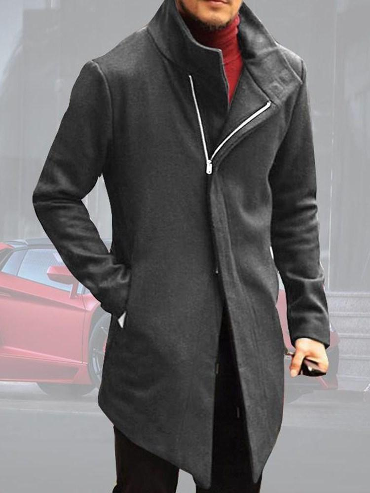 Pocket Stand Collar Mid-Length Zipper Winter Coat