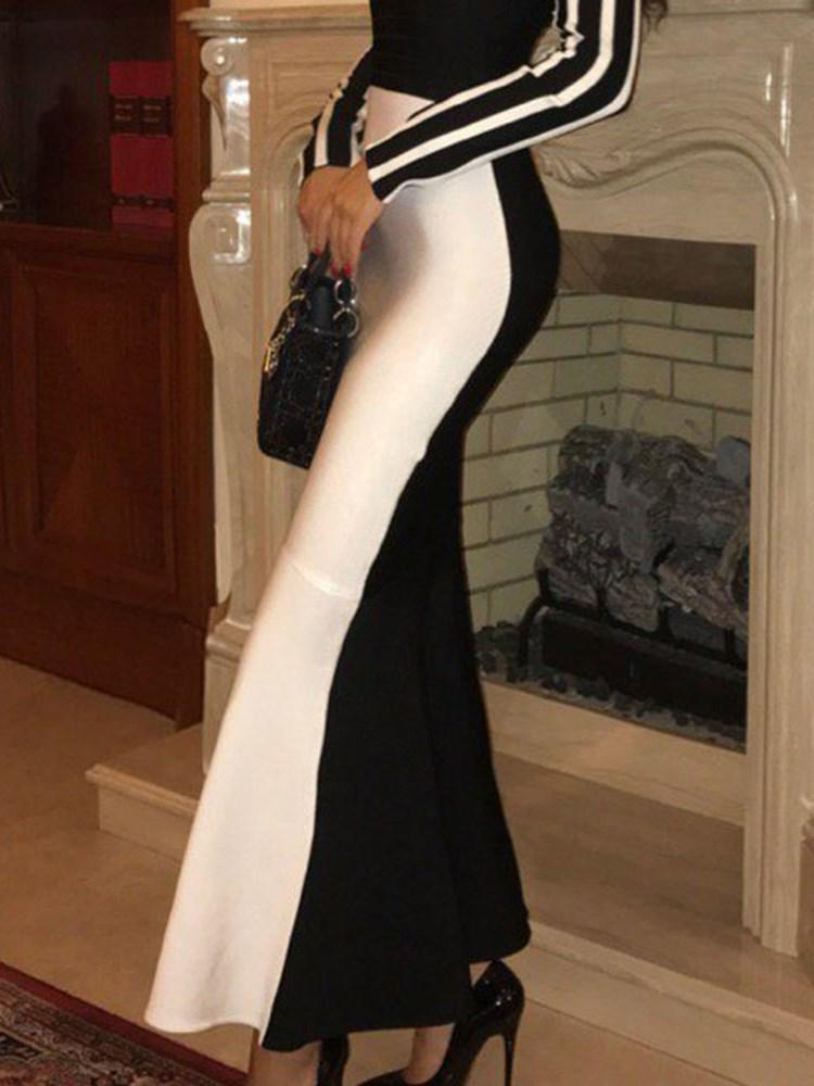 Ankle-Length Long Sleeve Patchwork Bodycon Fashion Dress