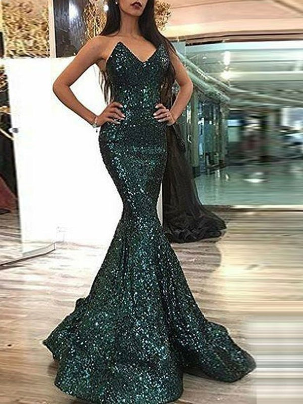 Trumpet/Mermaid Floor-Length Sequins V-Neck Evening Dress