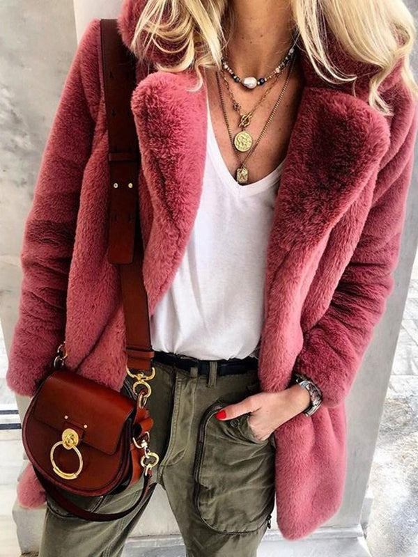 Plain Notched Lapel Mid-Length Thick Winter Faux Fur Overcoat