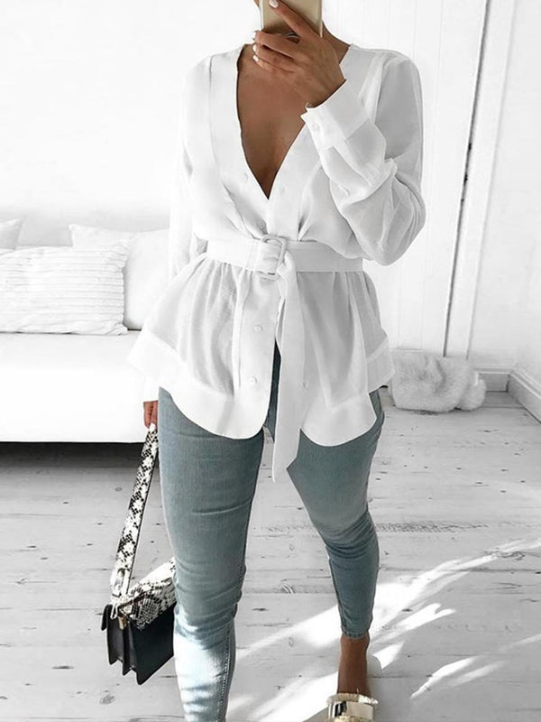 Button Plain V-Neck Standard Long Sleeve Blouse